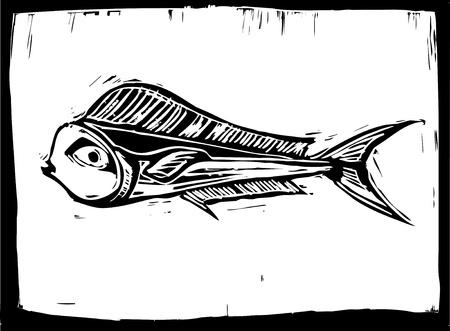 tropical fish Mahe Mahe swims in a woodcut style image.
