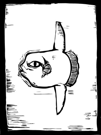 sunfish: Large sunfish swims in the ocean in a woodcut style image.