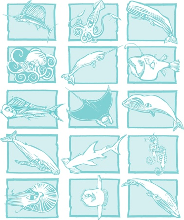 Grouping of varied fish, whales and sharks with unified backgrounds.