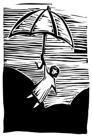 cloud drift: Woodcut person holds onto an umbrella flying through the air.