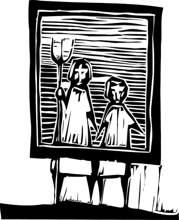 Woodcut people in an American Gothic style image.