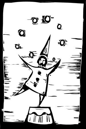 서커스 광대 공연에서 공을 juggles.