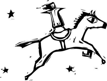 the performer: Circus performer rides a horse against a starry sky.