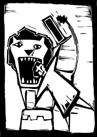 서커스 사자 길들이 그의 머리를 사자 입에 고집한다.