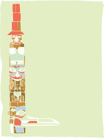 devour: A totem pole in the style of Northwest Coast native cultures. Illustration