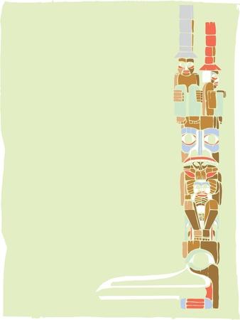 d�vorer: Un m�t tot�mique dans le style des cultures am�rindiennes de la c�te nord-ouest.