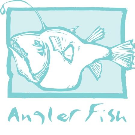 목 판화 스타일에 깊은 바다 낚시꾼 물고기. 일러스트