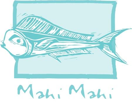 tropical fish Mahi Mahi swims in a woodcut style image.