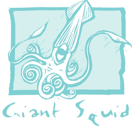 retro woodcut image of a giant squid swimming. Çizim