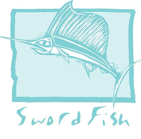 pez espada: Saltando de pez espada en el oc�ano en una imagen de estilo de grabado.
