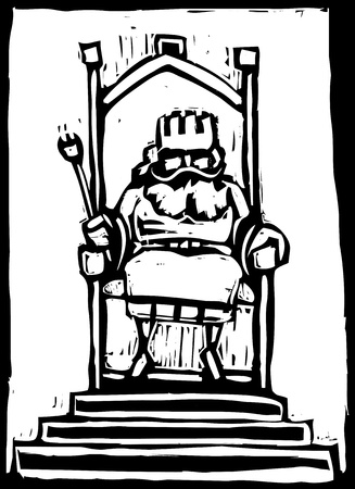 Woodcut of a small King on a throne