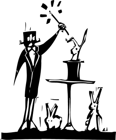 Woodcut magician and rabbits pulled from his hat