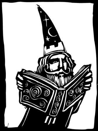 Wizard in tall hat reads a magical book.