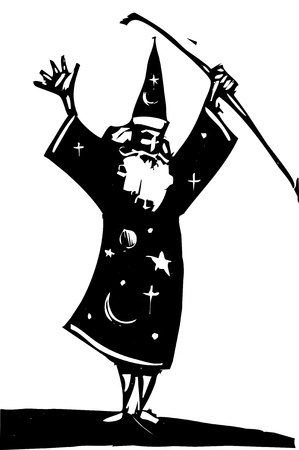 raises: Wizard standing alone raises his magical staff. Illustration