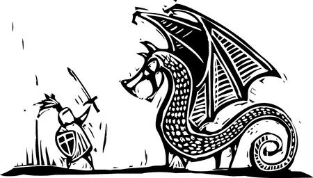 Cavaliere in armatura con spada combatte un drago