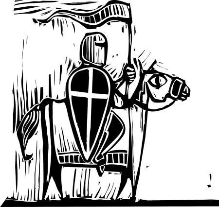 Knight with cross shield riding a horse. Reklamní fotografie - 8914589