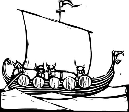 Woodcut image of a viking longship on the ocean.