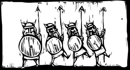 Houtsnede-afbeelding van een lijn van Vikingen met speren en schilden
