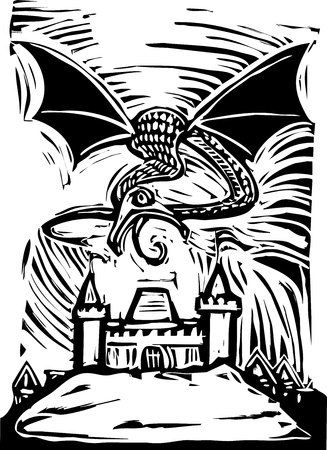 Woodcut Dragon shoots fire to burn down a castle Vector