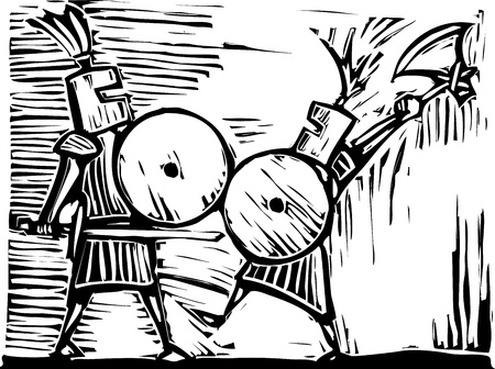 Two knights with swords, axes and shields fight. Vector
