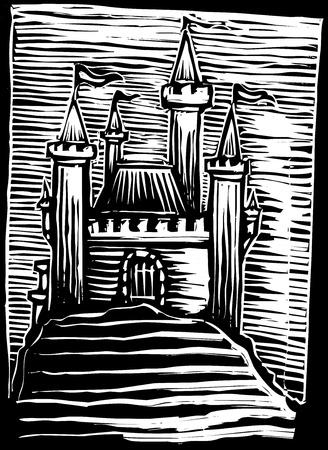 언덕에 중세 성곽의 목판화 이미지