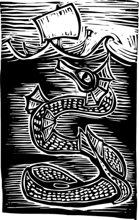 serpents: Sea serpent under a boat on the ocean.