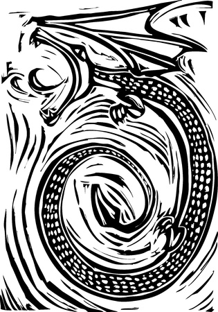 Rough woodcut image of a dragon breathing fire . Stock Vector - 8985642