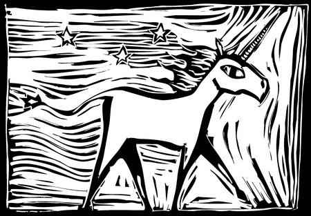 Woodcut image of a mythical Unicorn running Ilustração