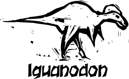 depictions: Simple rough woodcut style depictions of a Iguanodon Dinosaur