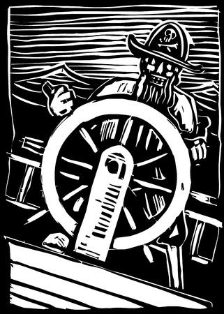 Een piraat op een golf gooide schip houdt het wiel schepen. Stock Illustratie