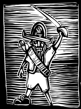Pirate captain in a woodcut style with parrot and sword.
