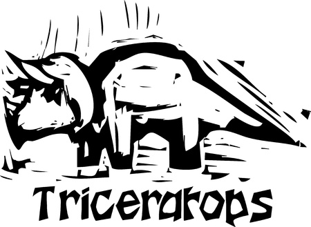Simple rough woodcut style depictions of a Triceratops Dinosaur Vector