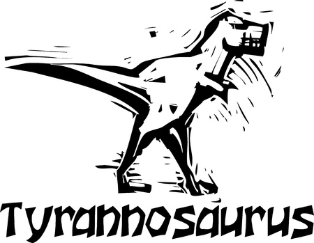 depictions: Simple rough woodcut style depictions of a Tyrannosaurus Rex Dinosaur