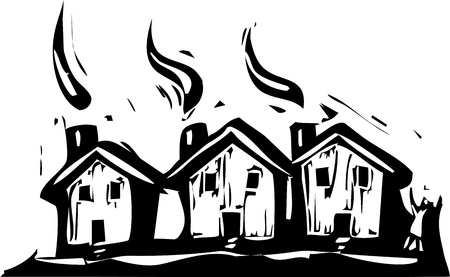 Three suburban houses in a woodcut style. Vector