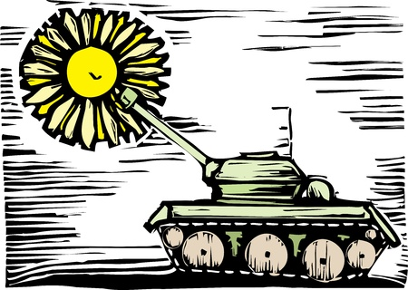 Tank shoots but a flower emerges from the gun. Vector