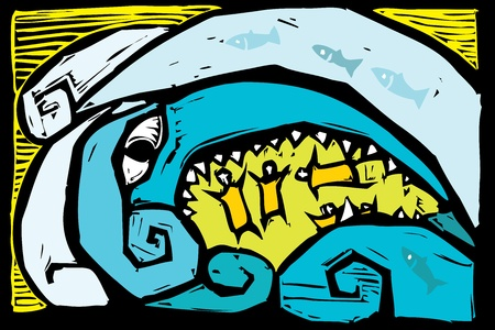 sea disaster: Anthropomorphic tsunami wave with eyes and teeth sweeps up people.