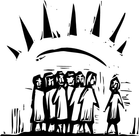 Group of people with expressionistic rays coming from them