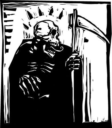 plague: woodcut style Grim reaper with a scythe