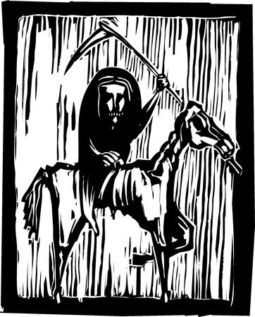 FGrim reaper ruiter of hongersnood een skelet paard rijden Stock Illustratie