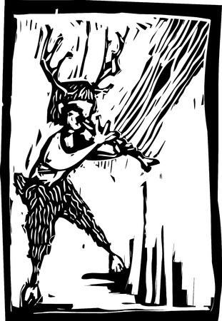 faun: Woodland mythological faun plays upon an bone flute. Illustration