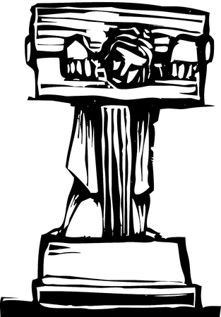 Woodcut style image of a man in stocks.