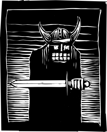 barbarian: Woodcut image of a Viking warrior in a horned helmet and carrying a sword.