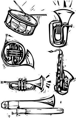 Different brass instruments and a drum, Saxophone, French horn, trumpet, trombone, tuba