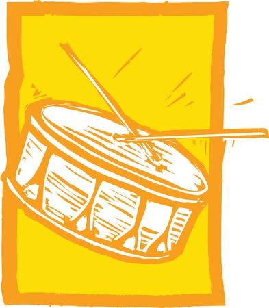 오렌지 배경에 올 무 드럼의 목 판화 이미지.