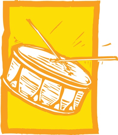 snare: Woodcut image of a snare drum on an orange background.