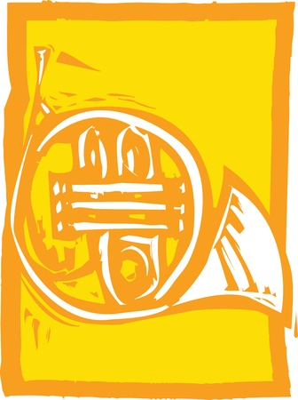 Woodcut image of a french horn on an orange background.