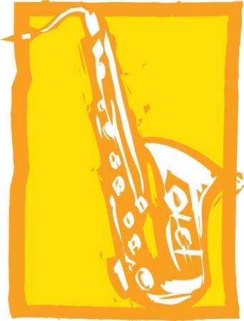 Woodcut image of a saxophone on an orange background.