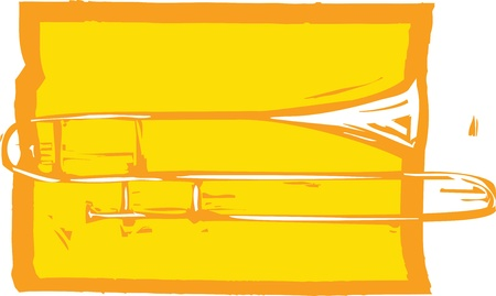 Woodcut image of a trombone on an orange background. Ilustração