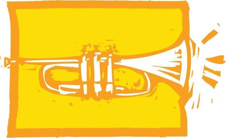 Woodcut image of a trumpet on an orange background. Illustration