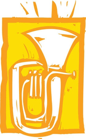 Woodcut image of a tuba on an orange background.